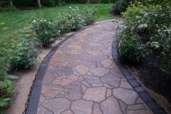 After picture of paver walkway installed in New Hampshire. Natures Elite landscaping are Certified Paver installers serving all of new Hampshire, Gilford ,Meredith, Laconia and all of Belknap County.