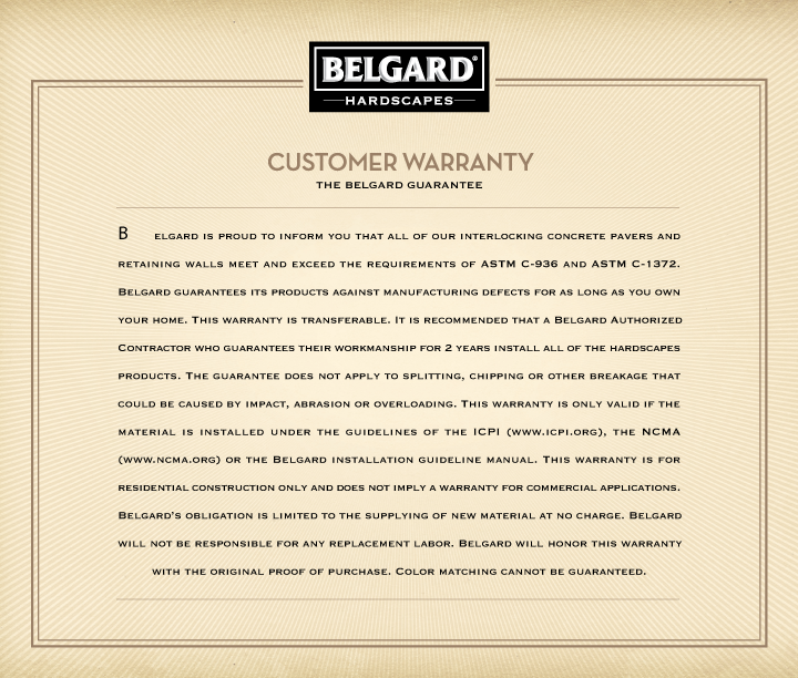 Belgard Hardscapes Customer Warranty